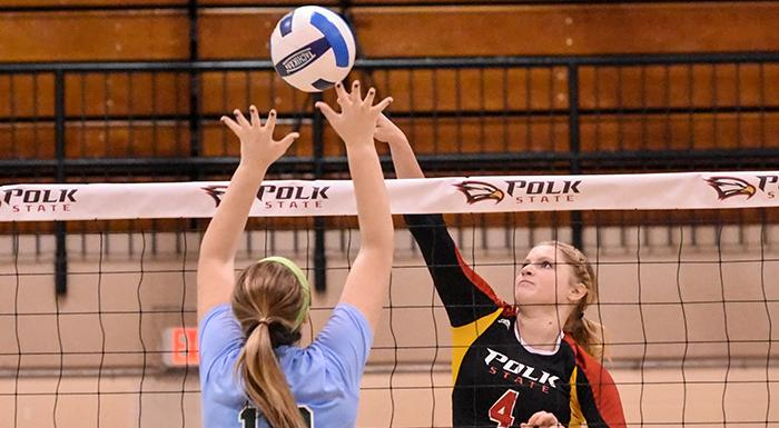Laina Blanton goes for the kill against Lake-Sumter. (Photo by Tom Hagerty, Polk State.)