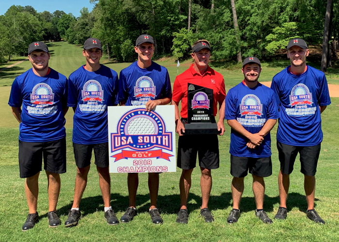 The Huntingdon men's golf team captured its first USA South Conference Tournament title with a 23-under 841 in three rounds. (Photo submitted)