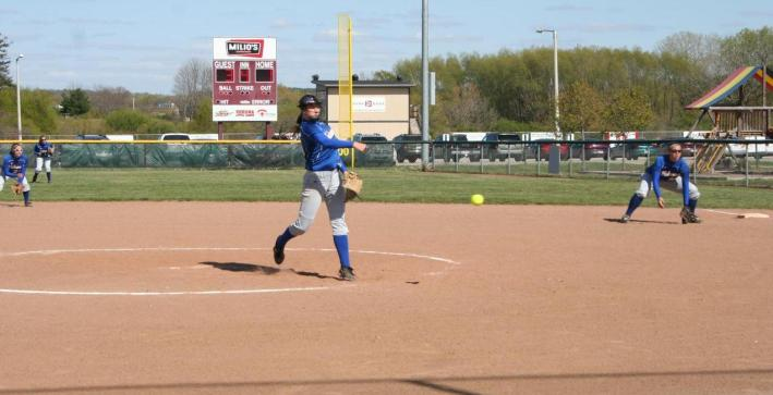 Schuh tosses no-hitter, Softball splits with Marian