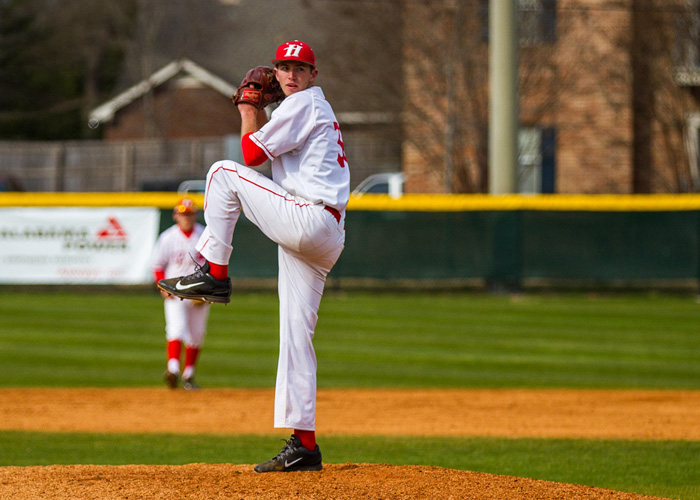 Freshman Jared Gonzalez (3-0) picked up the win in Sunday's 5-2 win over Methodist. Gonzalez struck out five, walked one, gave up five hits and allowed two earned runs in six innings. (Photo by Christopher Morgan)