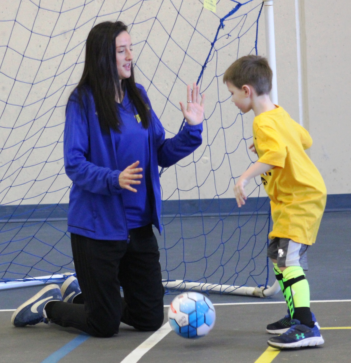 NIACC women's soccer coach Daisy Simms at youth soccer camp Tuesday morning in the NIACC recreation center.