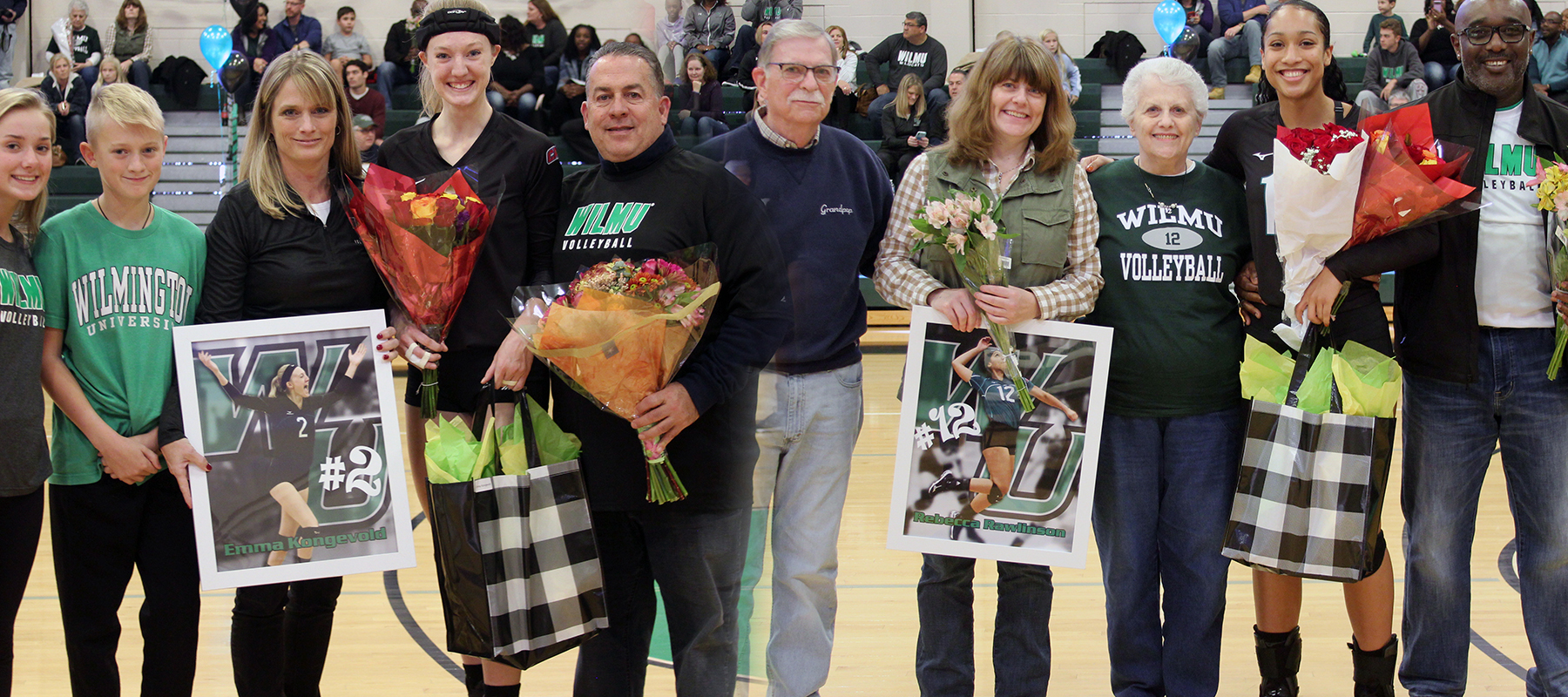 Photo of the two seniors, Emma Kongevold and Rebecca Rawlinson on Senior Day. Copyright 2019; Wilmington University. All rights reserved. Photo by Dan Lauletta. November 2, 2019 vs. Felician