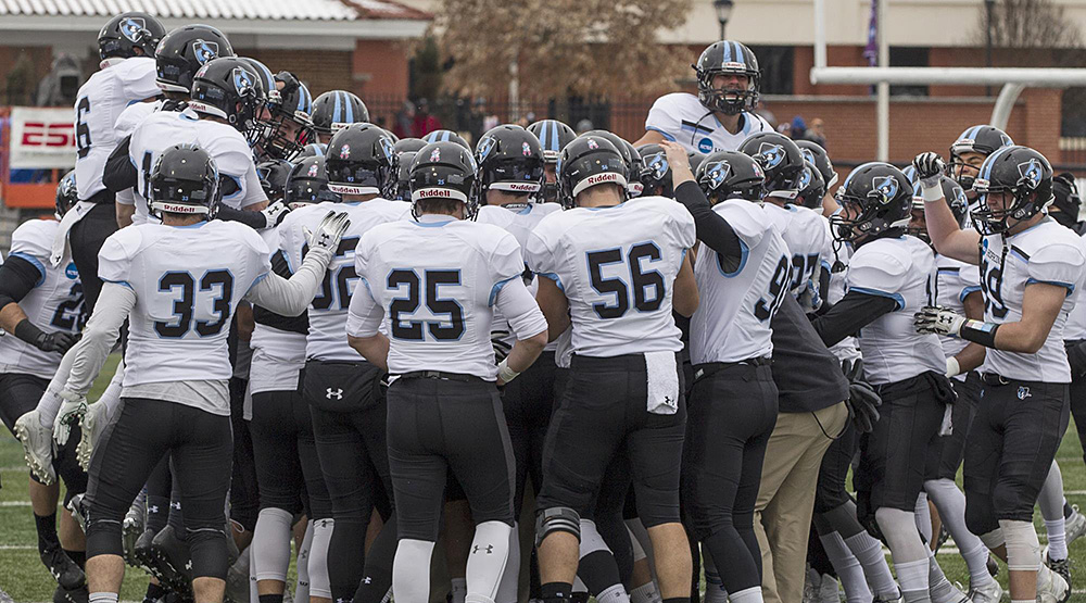 Johns Hopkins team before the national semifinal game at Mount Union. (Johns Hopkins athletics photo)