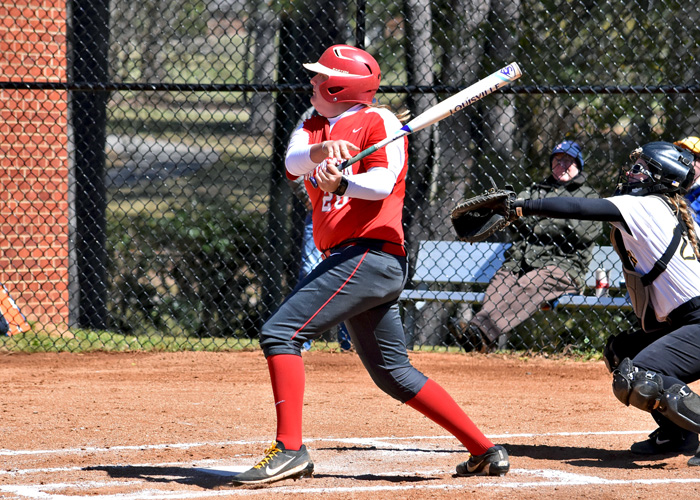 Freshman MacKenzie Smelley recorded two hits in Game 2 of Wednesday's doubleheader against Birmingham-Southern. (Photo by Wesley Lyle)