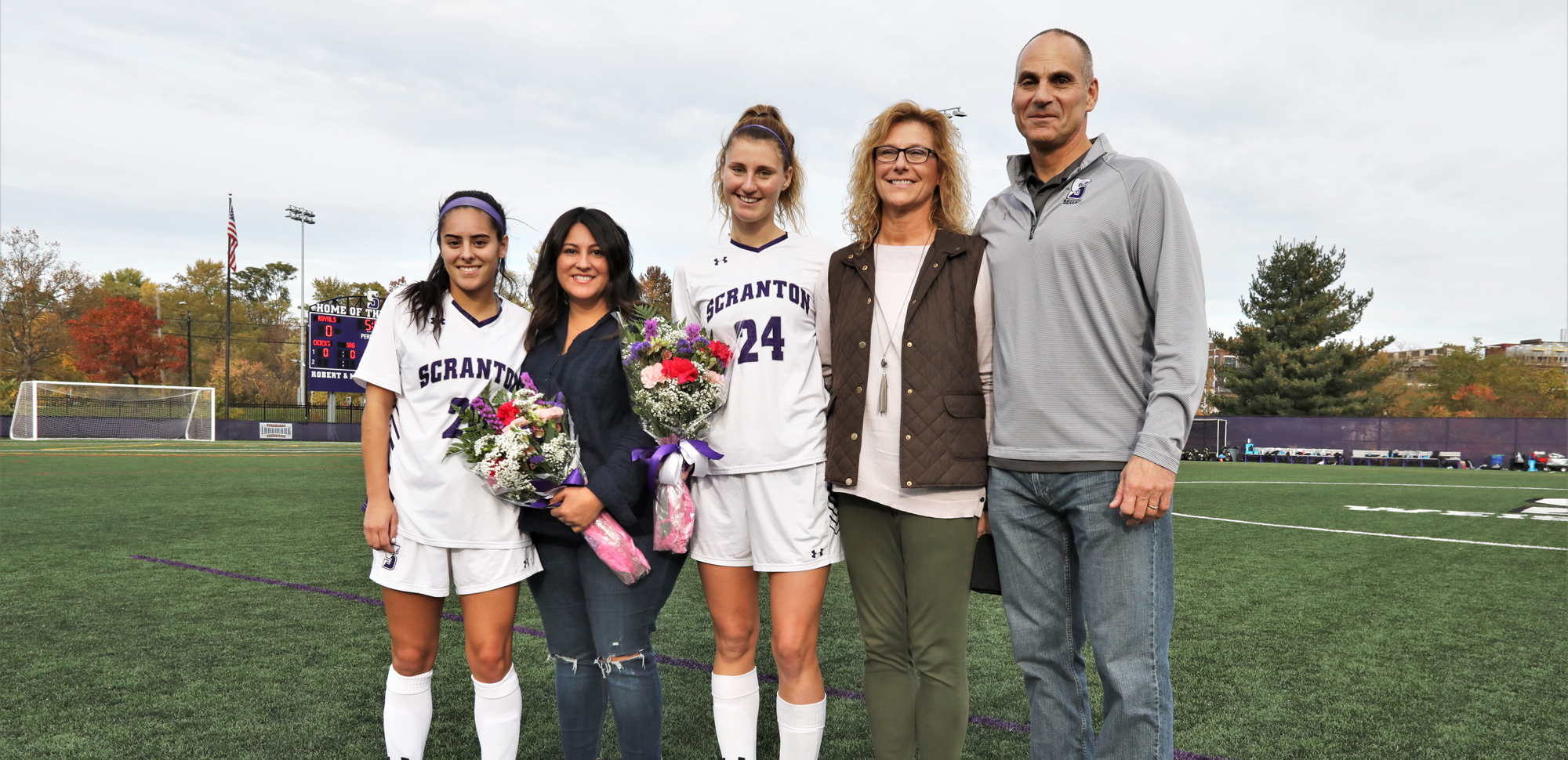 Seniors Ashley Carabajal and Becca Russo were honored in a pregame ceremony before Saturday's match versus Susquehanna.  © Photo by Timothy R. Dougherty / doubleeaglephotography.com
