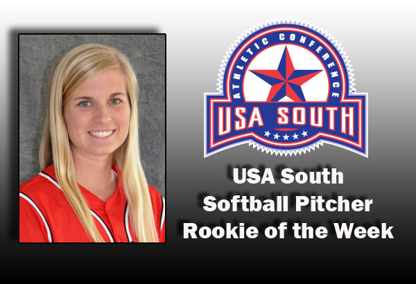 Softball: Patterson selected as USA South Rookie Pitcher of the Week