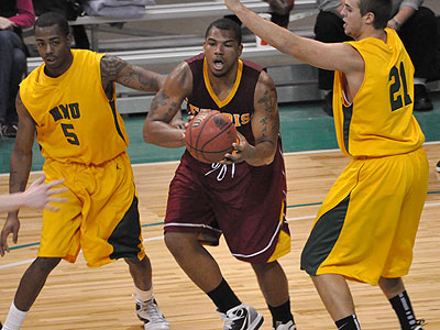 FSU senior Justin Keenan looks to pass the ball in Sunday's game at NMU (Photo by Rob Bentley)