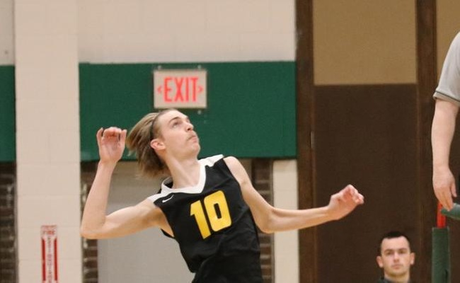 Jared Kucko (10) had a team-high 14 kills for Keuka College on Sunday