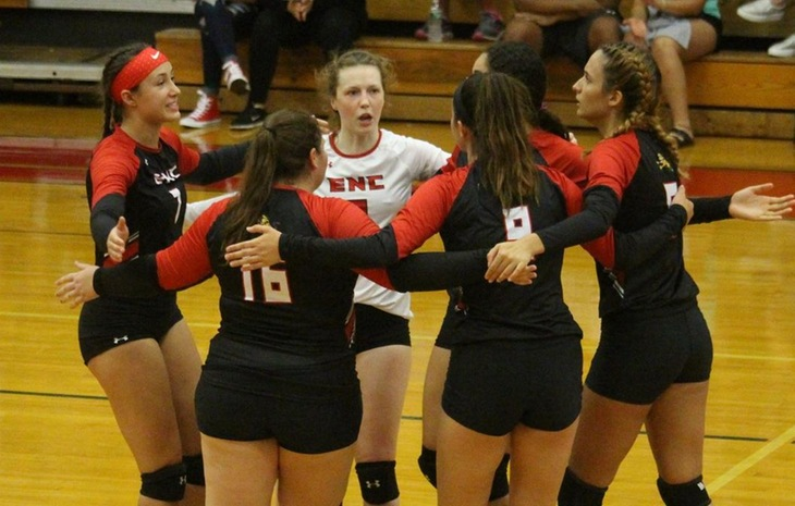 Women's Volleyball Powers Past Elms on Homecoming