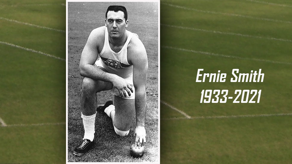 Photo of Ernie Smith with CMS track and field (accompanied by the words Ernie Smith 1933-2021)