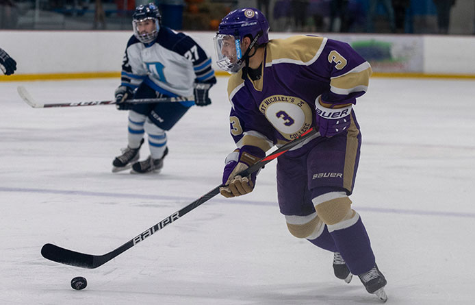 Two-Goal Third Period Lifts Men's Ice Hockey Over Post, 2-1, into First-Place Tie in NE10
