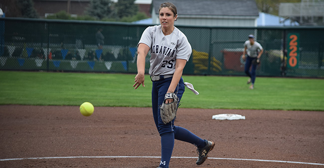 Josie Novak '18 throws a pitch during the first game of the Landmark Conference Tournament opener versus The Catholic University of America at Blue & Grey Field.