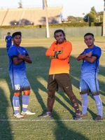 GK Jordan Aldama (middle) poses after scoring on a penalty kick