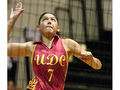 Karen Trevino (pictured) and Grace DeMichelis made 9 kills apiece in sweep of Goldey Beacom