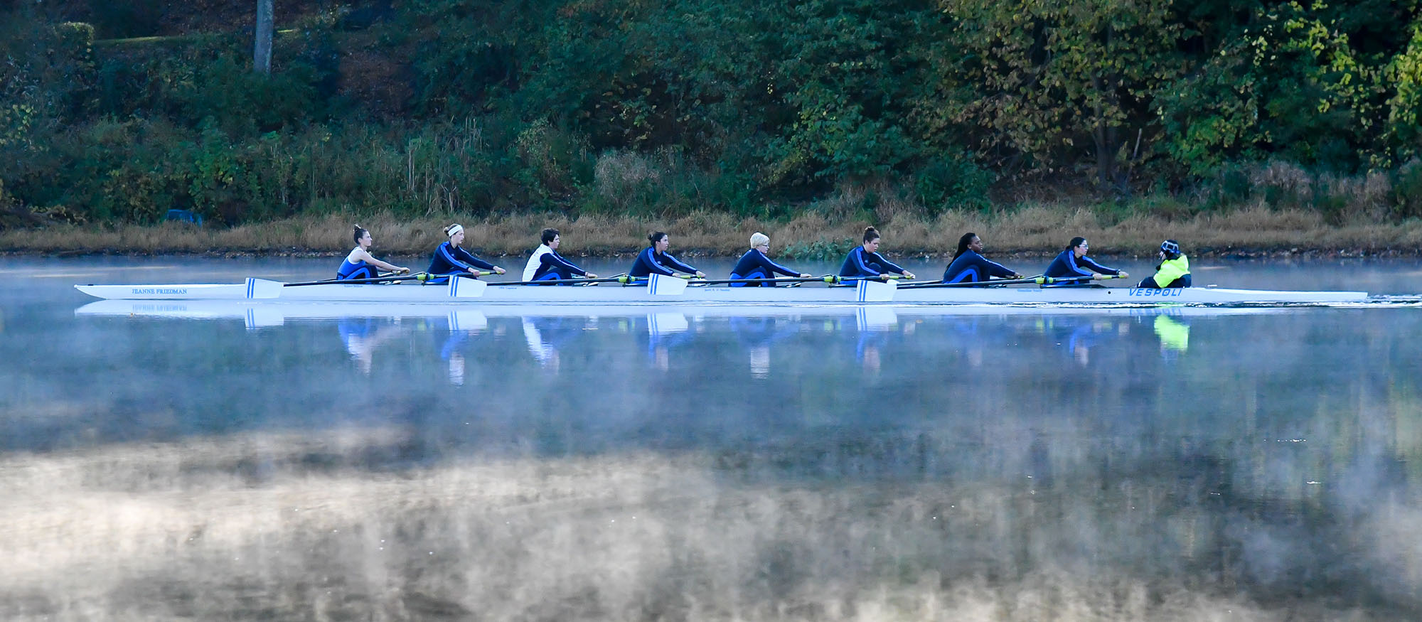 Varsity Eight boat action photo.