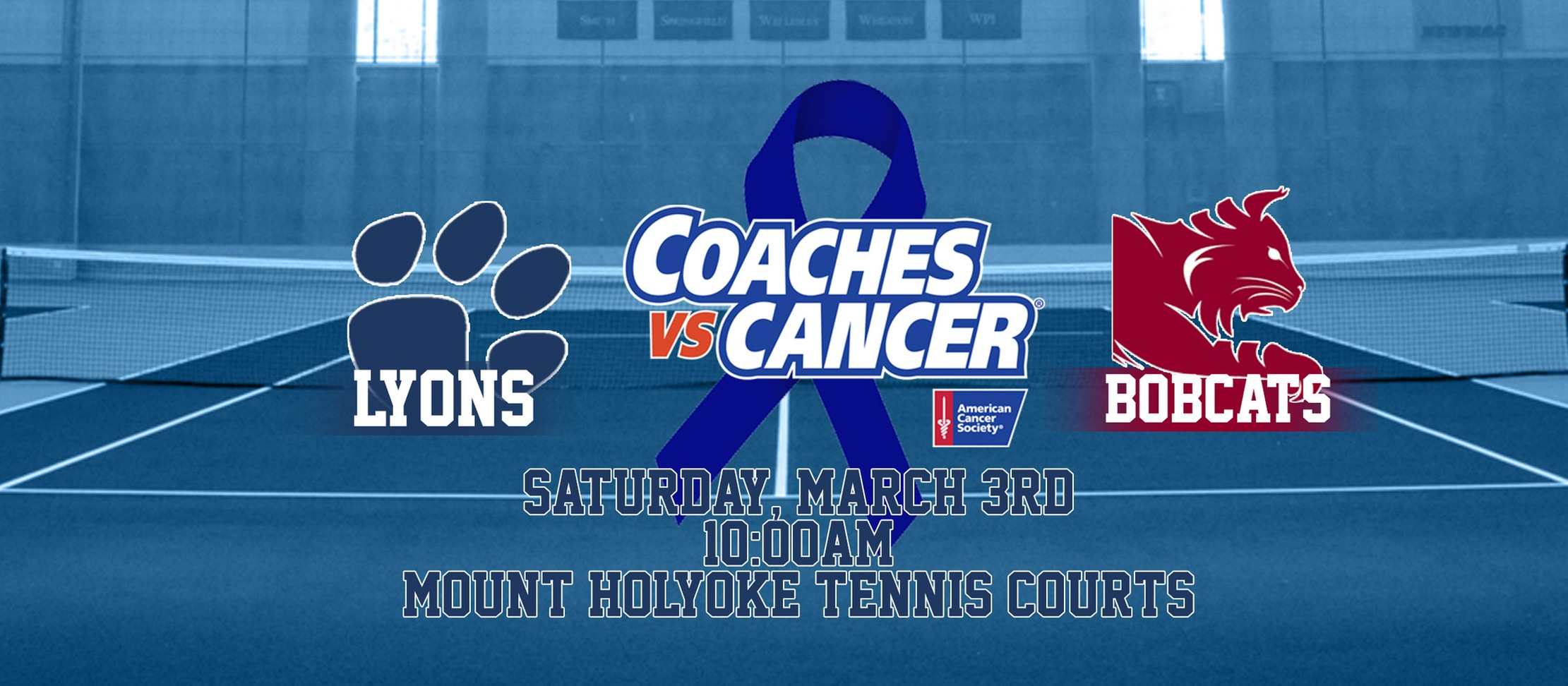 Coaches vs Cancer gameday central graphic for tennis.