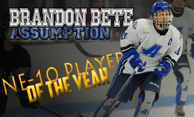 Assumption's Brandon Bete Named NE-10 Player of the Year; Ice Hockey All-Conference Teams, Awards Announced