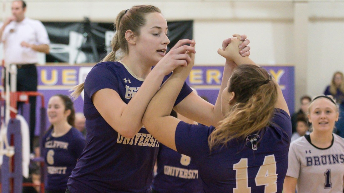 Shayla Scanlan (left) led Bellevue with 11 kills in Friday evening's Top 25 matchup against Viterbo.