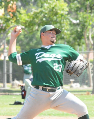 East Los Angeles College sophomore pitcher Alex Carrillo, pictured from last season, got the win in a 6-4 victory at College of the Desert on Jan. 27. He recorded five strikes. (Photo by DeeDee Jackson)