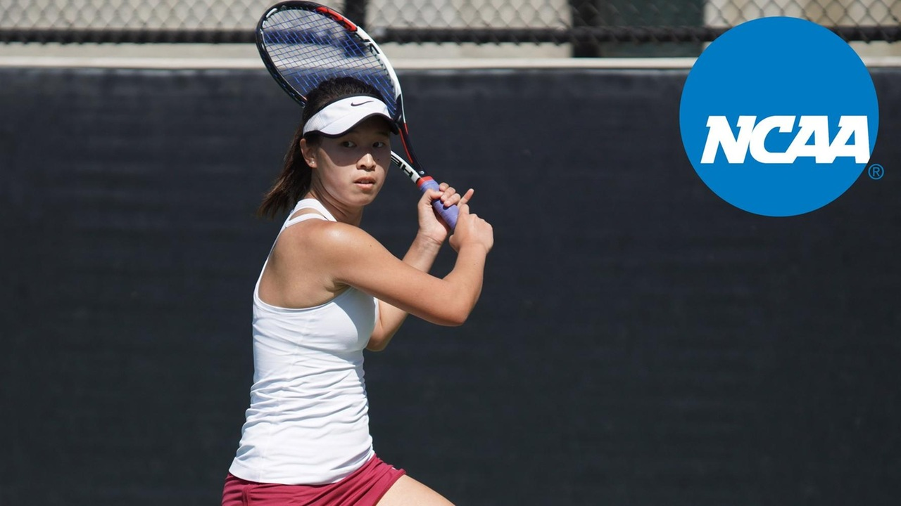 Nicole Tan prepares to hit a backhand with the NCAA logo superimposed over the photo