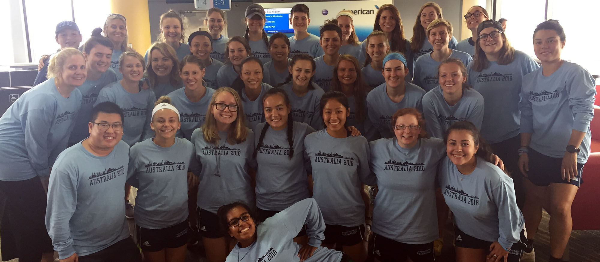 The Lyons field hockey team gathers for a photo prior to their departure to Australia from Boston's Logan Airport on Sunday, August 19th, 2018.