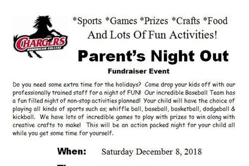 BASEBALL TO HOST PARENT'S NIGHT OUT FUNDRAISER