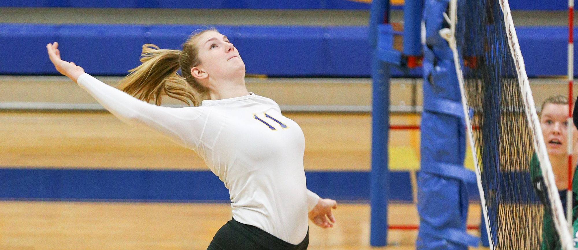 Junior Cassie Holmes recorded a team-high 14 kills in Western New England's five-set loss to Gordon on Tuesday. (Photo by Chris Marion)