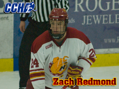 Junior defenseman Zach Redmond earns league second-team plaudits.  (Photo by Joe Gorby)