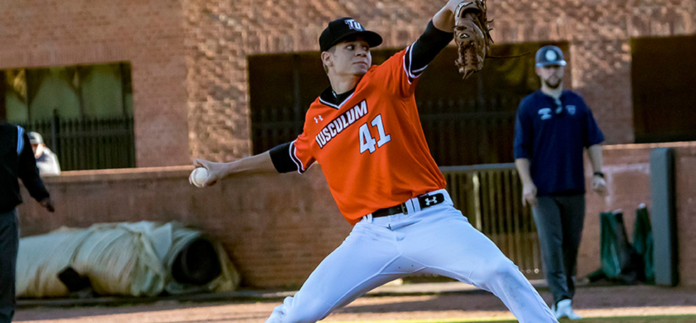 Charles Hall broke the NCAA II single-game record with his 22 strikeouts in Tusculum's 10-1 win over Queens (Photo by Chuck Williams)