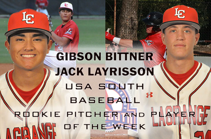 Baseball: Bittner and Layrisson named USA South Rookie Pitcher and Player of the Week