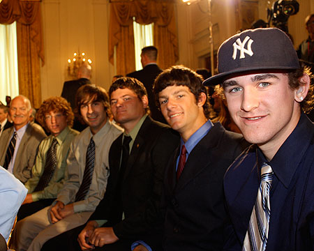 The third row of Bison players in the East Room.