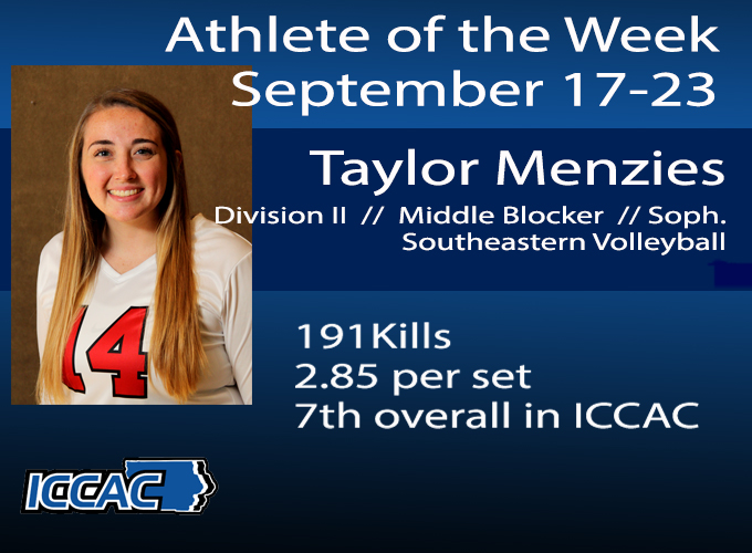 Menzies Earns ICCAC Athlete of the Week Honors