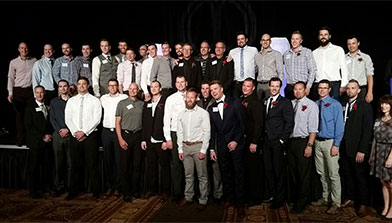 Photo of some of the Red Deer Kings student/athletes from the 1999-2007 championship run attending the Alberta Sports Hall of Fame