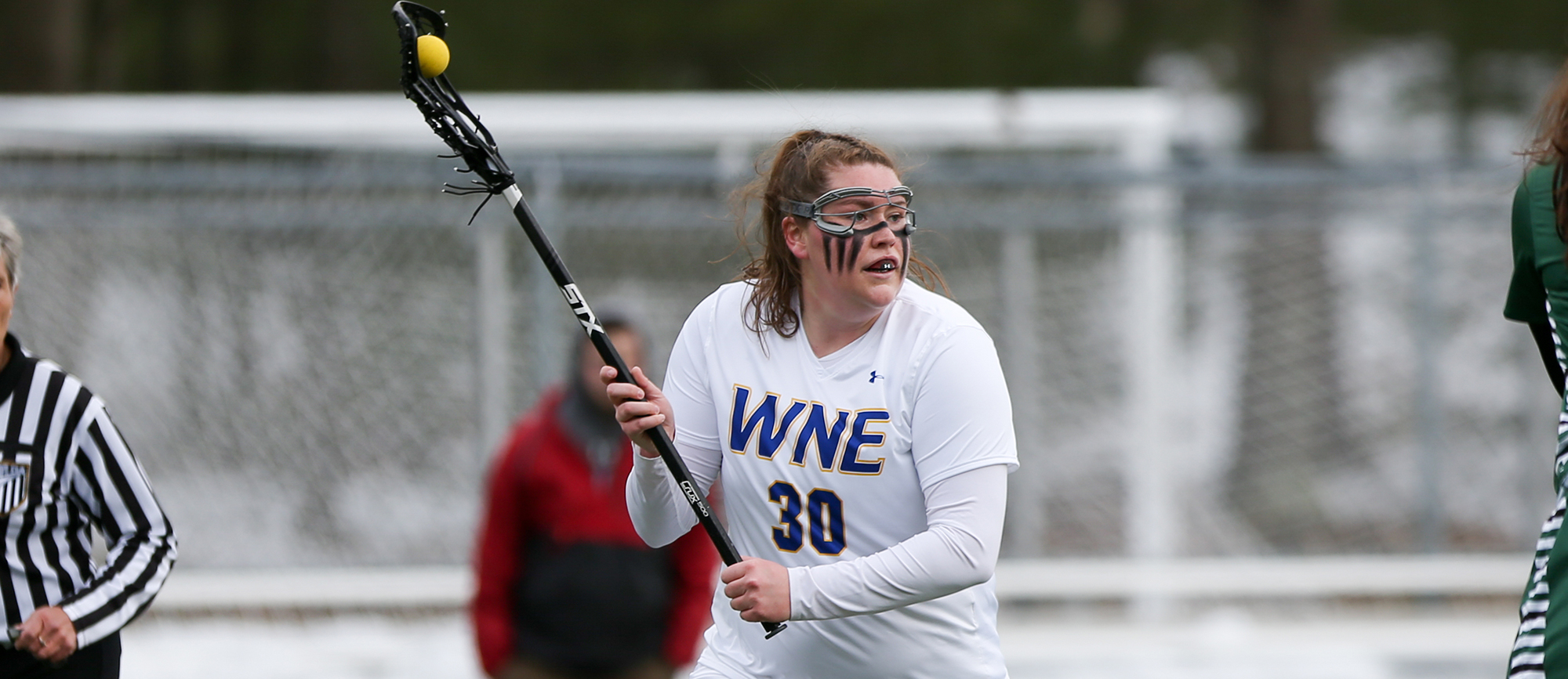 Eileen Ruby scored five goals, including the game-winner with 30 seconds remaining, in Western New England's 15-14 victory over Calvin in Florida on Friday. (Photo by Chris Marion)