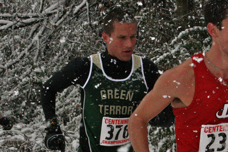 Jake Zamostny through the snow at the 2011 Centennial Conference Championship.