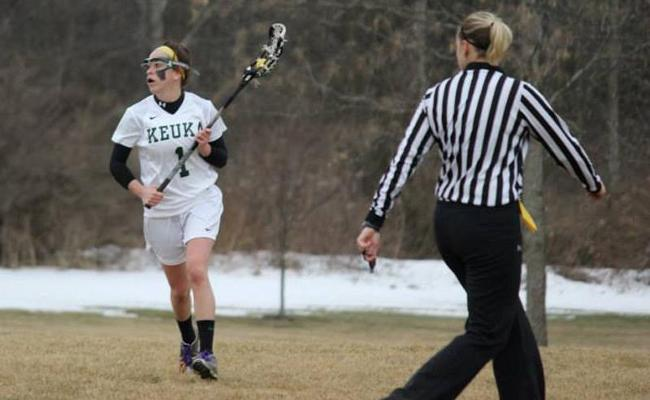 Senior Maggie Bonafede became Keuka College's all-time leader in career points in Friday's 12-7 loss to Adrian College (photo courtesy of Carly Volante, Keuka College Sports Information Department).