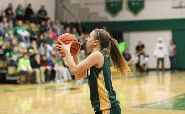 Senior Taylor Szwec and the Storm take on defending champion Lancaster Bible College Saturday night in the NEAC semifinals. Over her last four games, Szwec is averaging a double-double with 14.3 ppg. and 14.8 rpg. (photo courtesy of Ed Webber, Keuka College Sports Information Department).