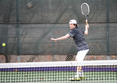 Freshman David Commender earned a win at No. 5 singles in the Royals' 5-4 victory over Moravian on Wednesday.