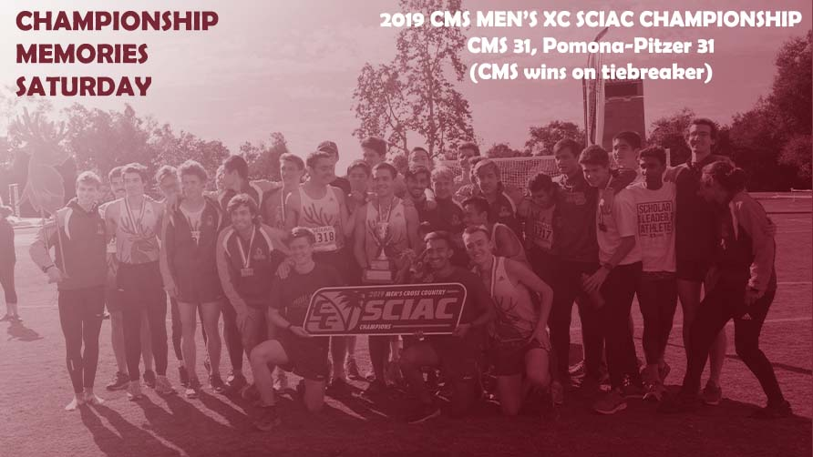 CMS Men's Cross Country celebrating 2019 SCIAC title