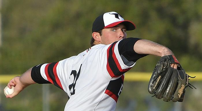 Pat Doudican had 11 strikeouts in six shutout innings as the Eagles beat St. Pete 4-2 at Bing Tyus Yard. (Photo by Tom Hagerty, Polk State.)