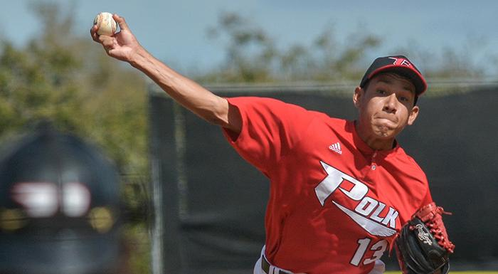 Maikor Mora held South Florida scoreless for seven innings as the Eagles won 8-0. (Photo by Tom Hagerty, Polk State.)