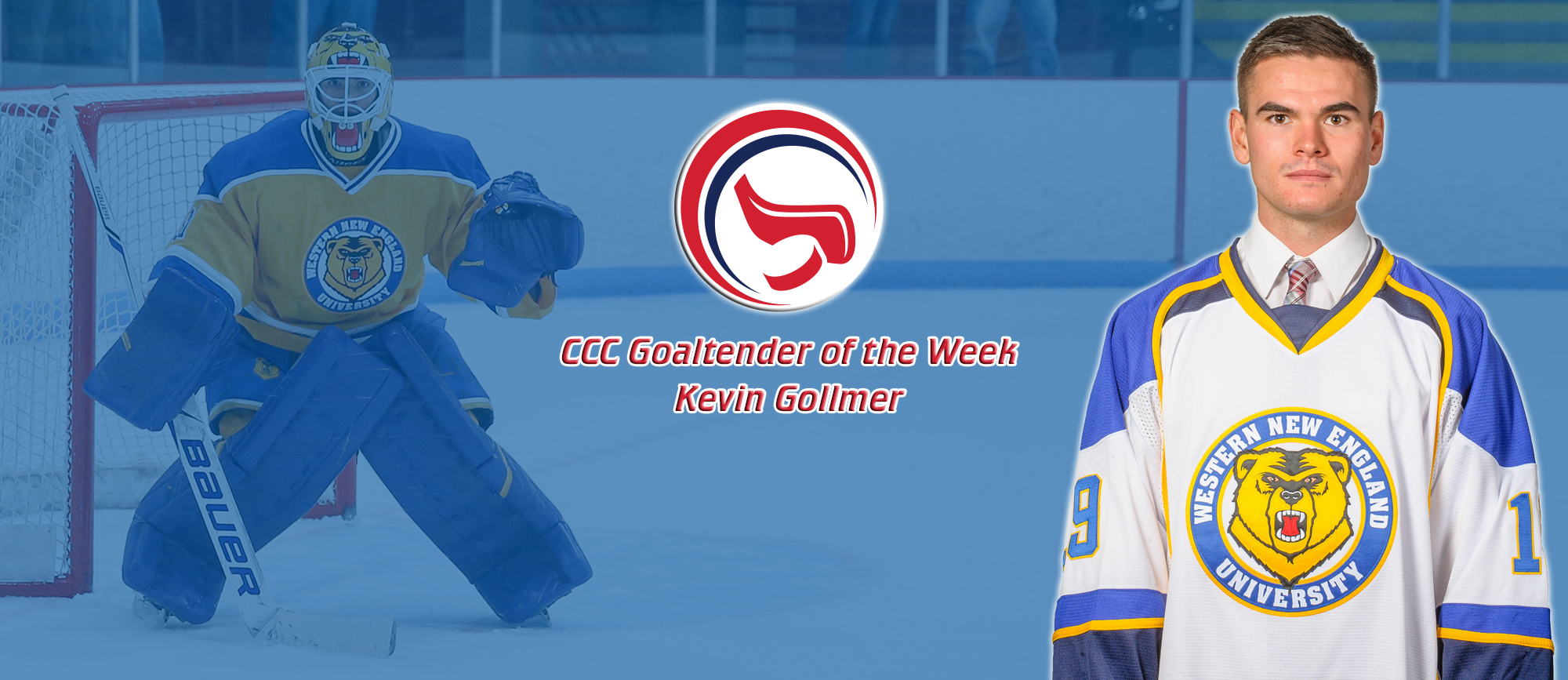 Kevin Gollmer Earns Second Career CCC Goaltender of the Week Award