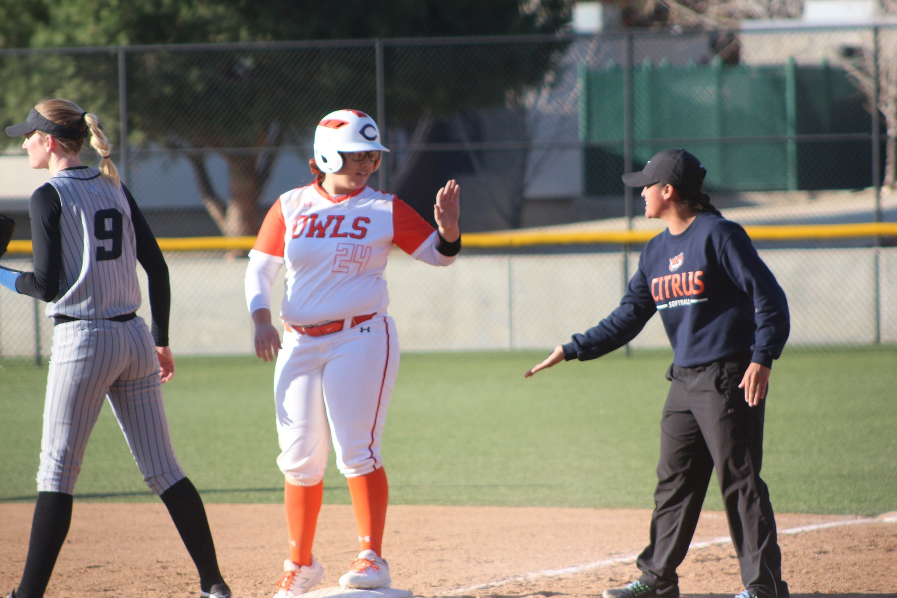 Molly Montell gets props from Citrus Assistant Coach Brittni Moreno.