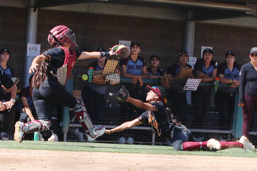 Lancers catcher Jennie Chacon makes the catch on a foul ball during PCC's game at Mt. San Antonio College on April 18, photo by Richard Quinton.
