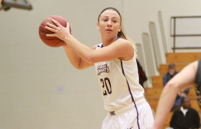 Women's basketball rallies past Bentley, 64-62, on national TV to complete season sweep