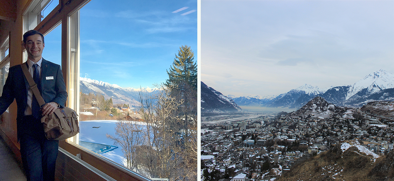 Collage of James Dwyer studying abroad in Switzerland.