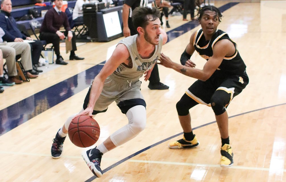Sophomore Cole Gerken (Ironwood Ridge HS) scored a team-high 20 points with eight rebounds but the Aztecs men's basketball team lost at Scottsdale Community College 72-66 on Saturday. The Aztecs are now 4-4 overall and 2-2 in ACCAC conference play. Photo by Stephanie Van Latum.