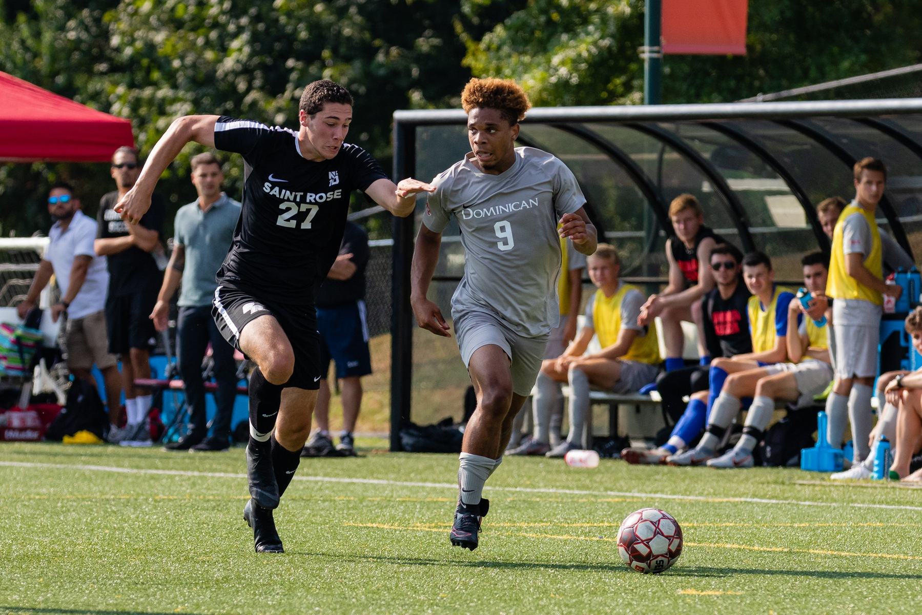 Jean Paul Lyons netted two goals to help lead the men's soccer team past Caldwell University.