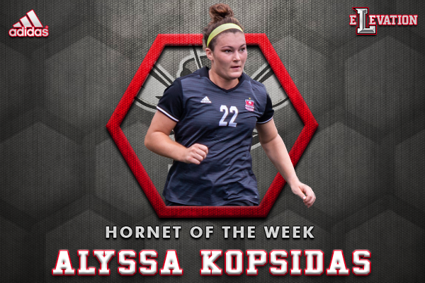 Hornet of the Week Alyssa Kopsidas with photo of Alyssa playing soccer.