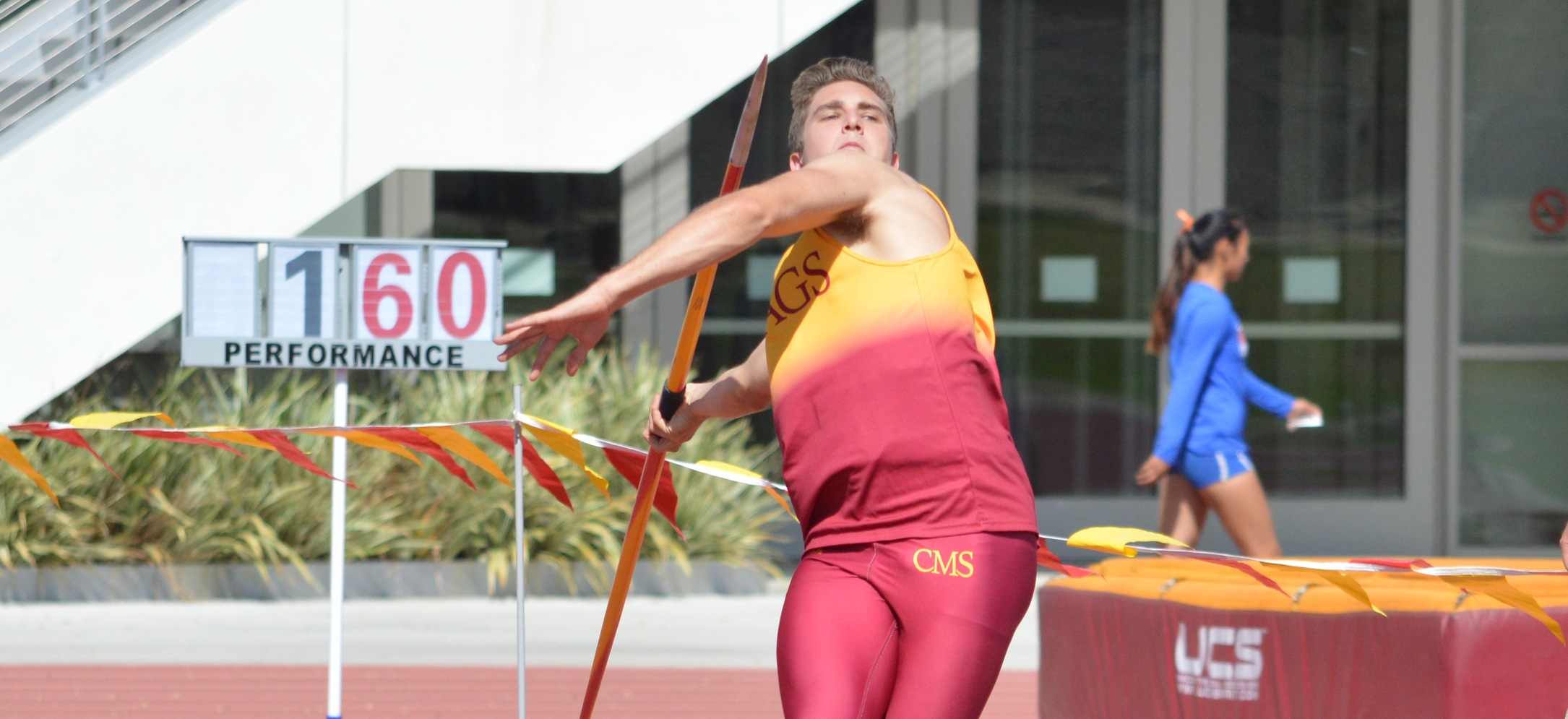 Connor Schulz (CMC) set a new personal record in the javelin throw. (photo credit: Hannah Graves)